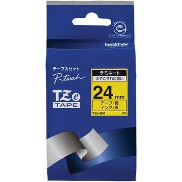 ブラザー ラミネートテープ(黄地/黒字) 24mm TZe-651