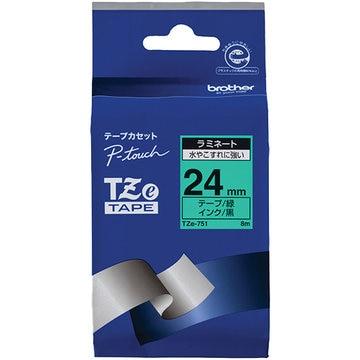 ブラザー ラミネートテープ(緑地/黒字) 24mm TZe-751