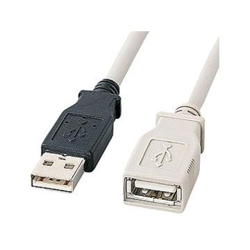 SANWASUPPLY USB延長ケーブル(5m・ライトグレー) KU-EN5K